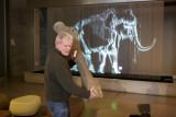 Dick Mol houdt het 1,33 meter grote dijbeen voor een 1-1 afbeelding van de wolharige mammoet