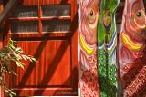 Paper carps and red door (7536)