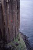 Small man, big crag - Kilt Rock, Skye. Grey Panther - E1?