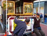 Powell & Market Sts. : do you want to try to spin a cable car with your hands ?