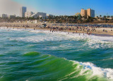 The beautiful view of Santa Monica Beach and his sandy wind from the Pier