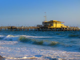 The Santa Monica Pier from the Beach at sunset. Be careful: the next wave could bathe your keyboard !