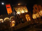 BOLOGNA: Piazza del Nettuno and the moon in a foggy night ...