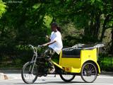 Pedicab on the phone