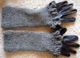 Ruffled Fingerless Gloves over Leather Gloves