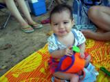 Estoy contento en la playa