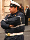 A Rather Bored Policeman at the Spanish Steps
