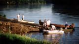 Voyageur canoes at Hardfish access