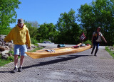 The expedition kayak comes down the ramp