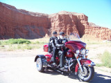 Jim & joy on their Harley-Voyagerwith Baby Rocks, AZin the background