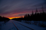 Looking down the tracks after sunset 2009 December 23