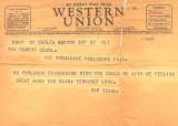 September 1943 Telegram from UK