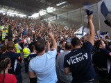 Melbourne Victory supporters at Spencer street station