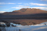 Conic Hill reflected in the flood waters on the Crom Mhin marsh