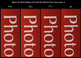 100% crop comparison of f5.6 to f8 with AF Fine Tune value of -8