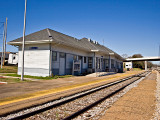 A trackside view of the McComb MS Train Depot