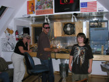 Paul Stephan in his upper garage studio with Brendon and Mom