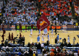 Virginia Tech parades its flag during pregame warm-ups at the Georgia Dome