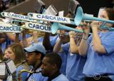 North Carolina Tar Heels Band plays during a timeout