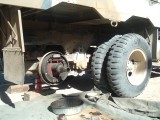Axle half-shaft pulled and brake drum removed
