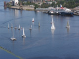 Yachts in front of passenger sea terminal