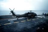 UH-60A on USS Guam off Grenada
