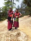 Monks descending from Taktsang Lhakhang