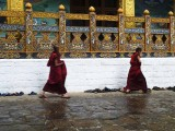 Monks rushing to the temple