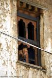 Girl in window; Rinchengang Village