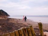 Walking at at the beach