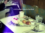 1975 - inflight dining on National Airlines in first class - coffee with breakfast appetizer of pineapple and rolls