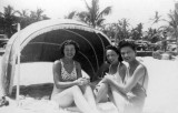 1942 - Lutrelle Conger (right), Inez Conger Skelton (behind her) and Eleanor Clancey at the beach