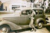 1940s - Ruby High (standing) with her friend Marie Severin on Flagler Street, Miami