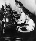 1940s - Miss Lutrelle Conger and co-workers on teletype machines at Pan American Airways System in Miami
