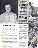 1950's - WTVJ Channel 4 ad for Tumbleweed package of western shows from 5:30pm to 6:15pm Monday through Friday