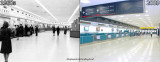 2009 - south end of terminal lobby from H to G (right) compared to original lobby from 1 to 2 (left)