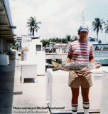 1982 - Michael Kandrashoff with a large snook at Watson Island when there were fishing boats (comments below)