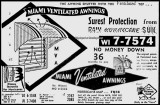 1957 - ad for Miami Ventilated Awnings, phone number WIlson 7-7574