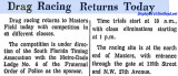 1963 - article about drag racing resuming at Masters Field