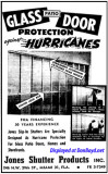 1958 - ad for Jones Shutter Products hurricane shutters