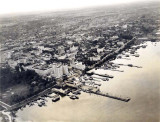 1920 - Aerial view of downtown Miami with new McAllister Hotel, before Bayfront Park was filled in