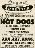 Current ad for Arbetter's Hot Dogs, in business since 1959 - Article about Ronnie Arbetter below: