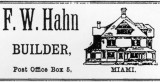 1900s - F. W. Hahn, Builder advertisement