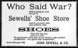 1900s - John Sewell & Co., Sewell's Shoe Store advertisement