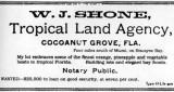 1900s - W. J. Shone, Tropical Land Agency, advertisement