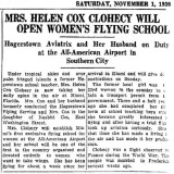 1930 - article about Miami's first women's flying school at All-American Airport, Dade County, Florida