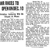 1936 - article about the 9th Annual All-American Air Races at All-American Airport, Dade County