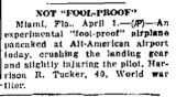 1937 - article about experimental fool-proof airplane landing accident at All-American Airport, Dade County