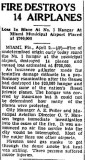 1938 - article about expensive fire at Miami Municipal Airport's hanger number #1 (see photo ->)