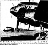 1939 - article about 53 U. S. Marine Corps aircraft (Curtiss R4C-1 Condor in foreground) visiting Miami Municipal Airport